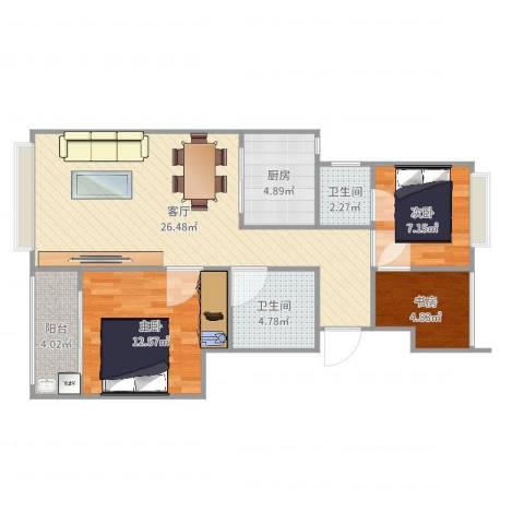 米兰诺贵都3室1厅2卫1厨84.00㎡户型图