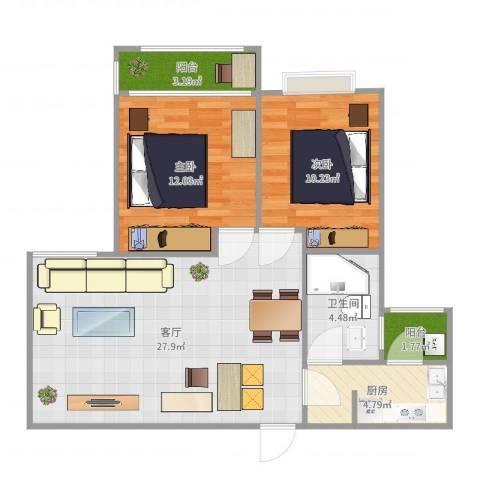 米兰诺贵都2室1厅1卫1厨80.00㎡户型图