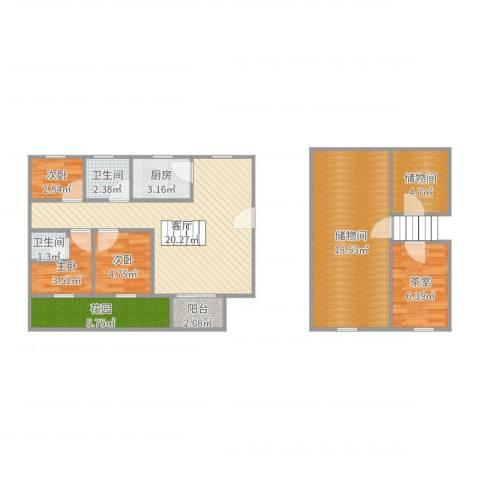 绿洲华庭苑3室1厅2卫1厨95.00㎡户型图