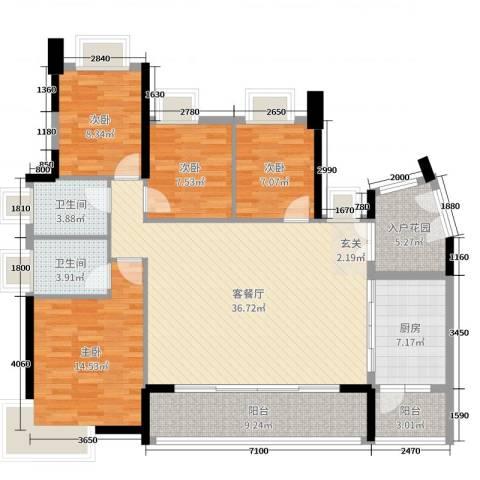 丽丰棕榈彩虹4室2厅2卫1厨141.00㎡户型图