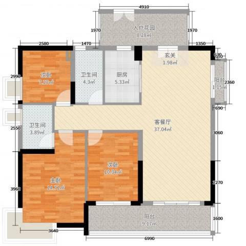 丽丰棕榈彩虹3室2厅2卫1厨133.00㎡户型图
