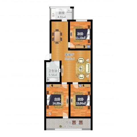 科苑小区3室2厅1卫1厨110.00㎡户型图