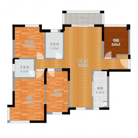 富川瑞园4室2厅2卫1厨135.00㎡户型图
