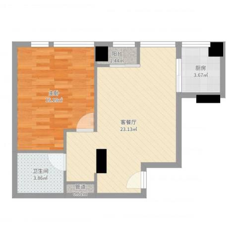 常青藤单身公寓1室2厅1卫1厨47.82㎡户型图