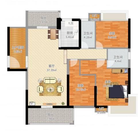 锦盛恒富得3室2厅4卫1厨139.00㎡户型图
