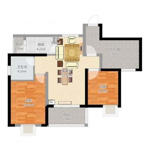 西双版纳滨江果园避寒度假山庄2室2厅1卫1厨91.00㎡户型图