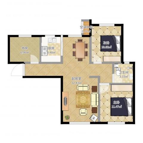 保利罗兰香谷二期3室1厅1卫1厨99.00㎡户型图