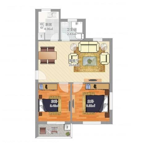 钱湖人家2室2厅1卫1厨61.00㎡户型图