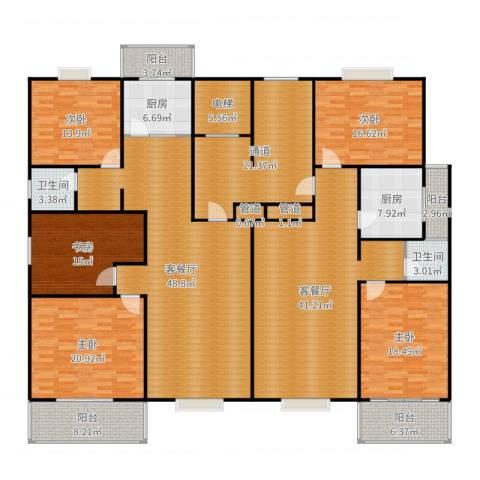 曲江汇景新都5室4厅2卫2厨307.00㎡户型图