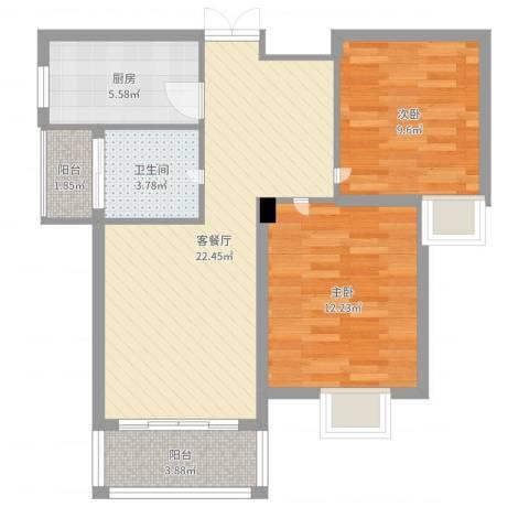 御景龙湾2室2厅1卫1厨74.00㎡户型图