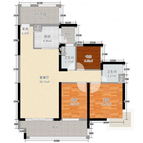 锦绣国际花城3室2厅2卫1厨114.00㎡户型图