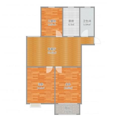燕铭华庄3室2厅1卫1厨99.00㎡户型图