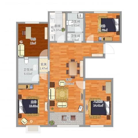 经纬城市绿洲武清二期4室1厅3卫1厨137.00㎡户型图