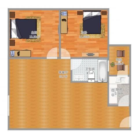 领馆逸品2室2厅1卫1厨91.00㎡户型图