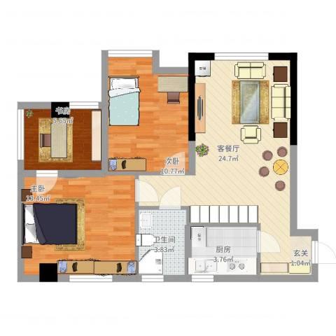 锐力领峰3室2厅1卫1厨89.00㎡户型图