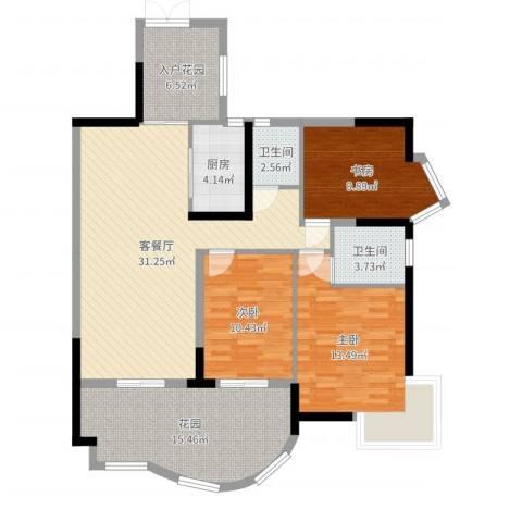 华鸿水云轩3室2厅2卫1厨122.00㎡户型图