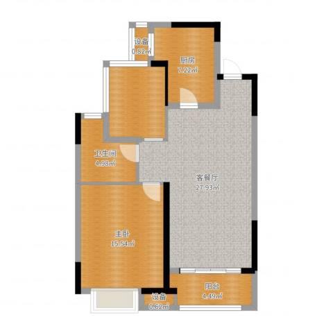 金科天籁城1室2厅1卫1厨86.00㎡户型图