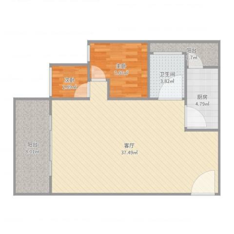 风度国际名苑2室1厅1卫1厨83.00㎡户型图