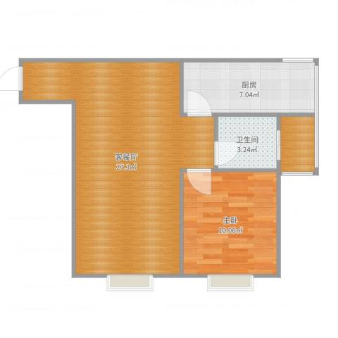帝国魔码5米41室2厅1卫1厨62.00㎡户型图