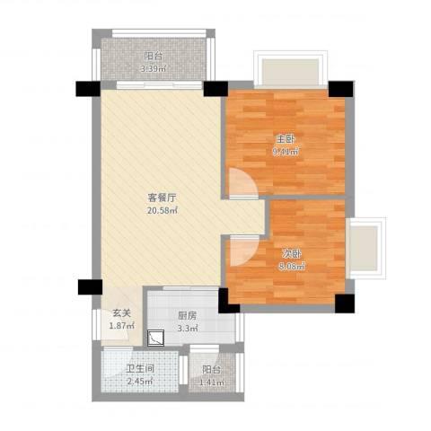 幸福港湾三期2室2厅1卫1厨61.00㎡户型图