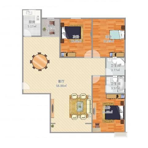 安业公寓3室1厅2卫1厨150.00㎡户型图