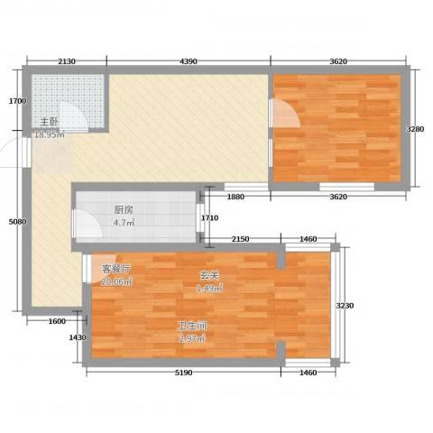 华龙苑南里2室2厅1卫1厨73.00㎡户型图