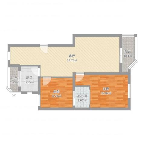 宝岛世纪园2室1厅1卫1厨78.00㎡户型图