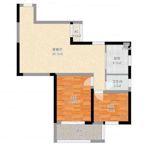 桂花公寓2室2厅3卫1厨78.00㎡户型图