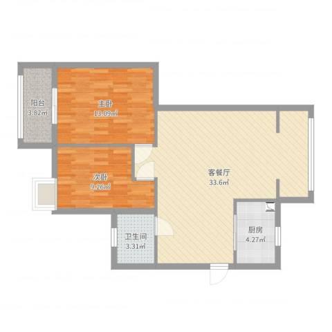 岭兜佳园2室2厅1卫1厨84.00㎡户型图