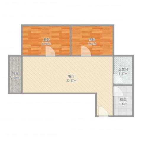 黄岐第一城2室1厅1卫1厨61.00㎡户型图