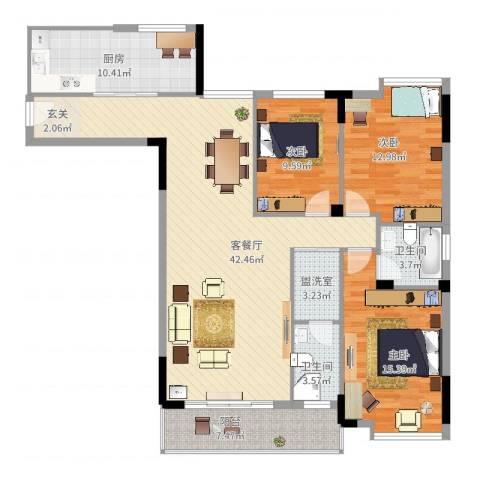 太湖明珠苑别墅3室4厅2卫1厨151.00㎡户型图