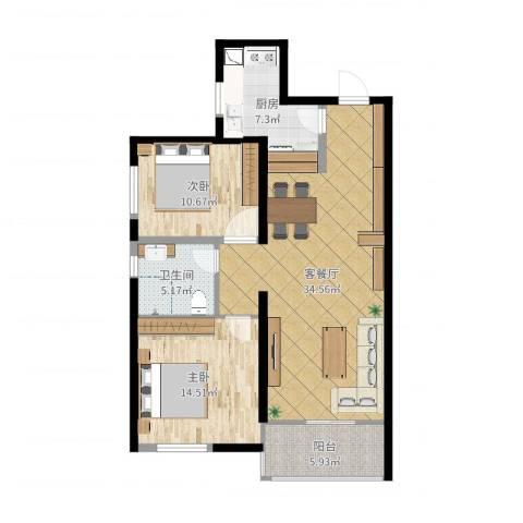 旺座城—海德堡PARK2室2厅1卫1厨98.00㎡户型图