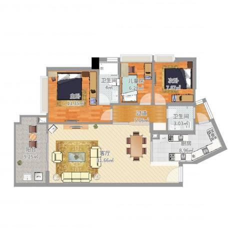 蓝湾逸轩3室1厅2卫1厨114.00㎡户型图