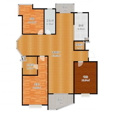 金月湾小区3室2厅2卫1厨190.00㎡户型图