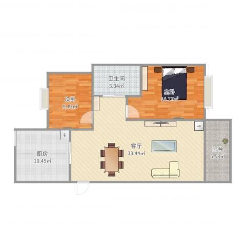 金月湾小区2室1厅1卫1厨98.00㎡户型图