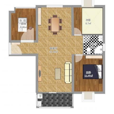 禹洲花园二期3室2厅1卫1厨94.00㎡户型图