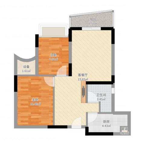 颐景华苑2室2厅2卫2厨70.00㎡户型图