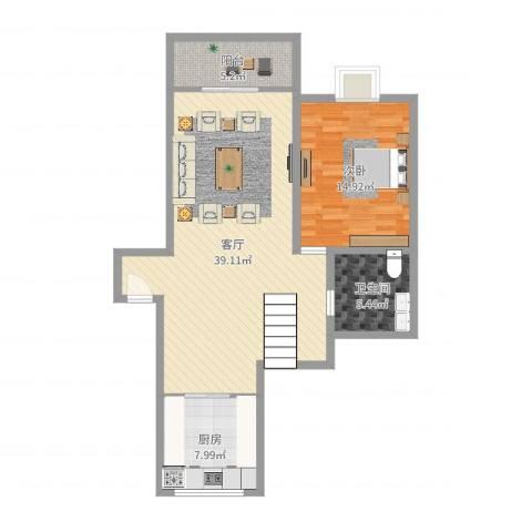 新世纪花苑三期1室1厅1卫1厨91.00㎡户型图