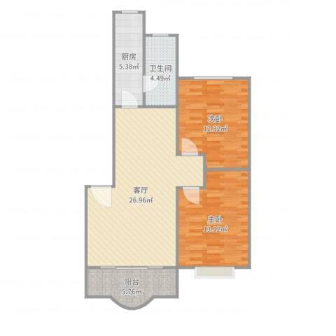 新世纪花苑三期2室1厅1卫1厨85.00㎡户型图