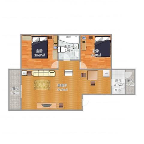 新世纪花苑三期2室2厅1卫1厨112.00㎡户型图