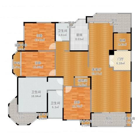 瀛通金鳌山公寓3室2厅3卫1厨220.00㎡户型图