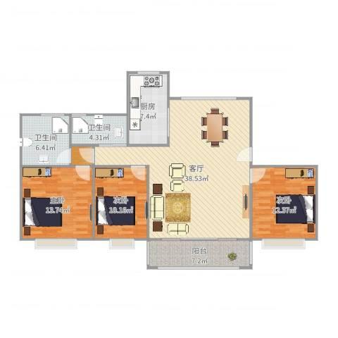 蓼花汀花园3室1厅2卫1厨126.00㎡户型图
