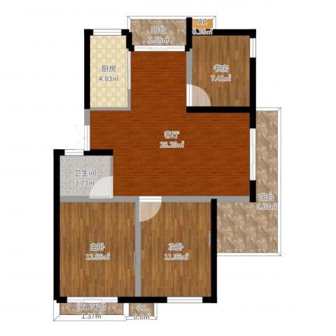 黄山怡园3室1厅1卫1厨104.00㎡户型图
