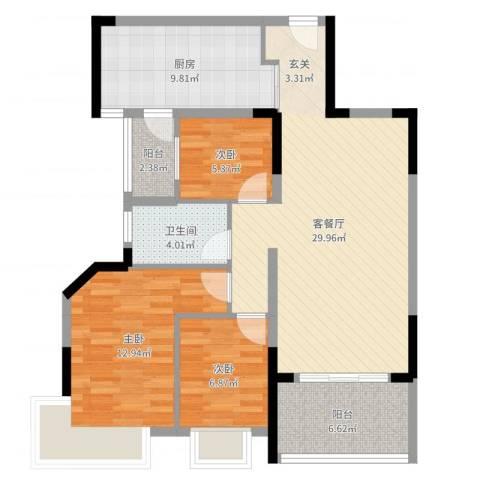 丽景名筑3室2厅1卫1厨97.00㎡户型图