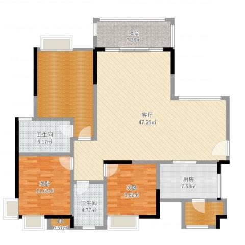 丽景名筑2室1厅4卫2厨142.00㎡户型图