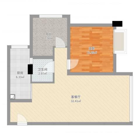 中国水电海赋外滩1室2厅1卫1厨61.33㎡户型图