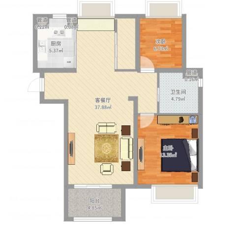 清华世界城2室2厅4卫1厨92.00㎡户型图
