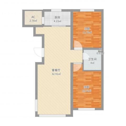 温哥华森林2室2厅1卫1厨85.00㎡户型图