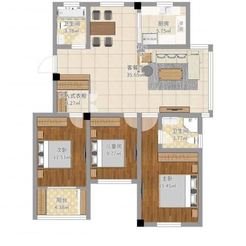 华林家园3室2厅2卫1厨117.00㎡户型图