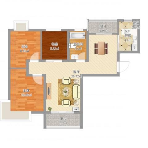 景隆现代城3室1厅1卫1厨84.00㎡户型图